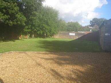 The grassed area at the rear
